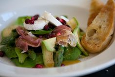 parma ham, pomegranate and chevin salad by the food room
