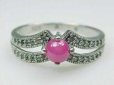 Estate Sterling Silver Pink Stone Ring Size 8 No Reserve 925 | eBay