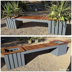 Outdoor bench ideas made with recycled wooden pallets pallet furniture pall Wooden Pallet Furniture, Wooden Pallets, Pallet Sofa, 1001 Pallets, Diy Pallet Projects, Wood Projects, Backyard Patio, Backyard Landscaping, Pallet Garden Benches