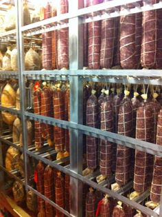 Finest British charcuterie in the curing room at Tealy farm.