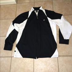 FREE TEE OR SHORTS:NIKE AIR JORDAN FLIGHT JACKET NIKE AIR JORDAN BLACK N WHITE FLIGHT JACKET WITH SNAP POCKETS ...EXCELLENT CONDITION MEN SIZE XL/TG/EG Nike Jackets & Coats Utility Jackets