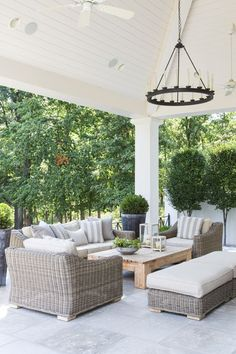 A Contemporary Classic An arrangement of wicker furniture creates a cozy conversational area on the back patio. Outdoor Areas, Outdoor Seating, Outdoor Rooms, Outdoor Decor, Outdoor Patios, Outdoor Kitchens, Casa Kardashian, Patio Design, House Design