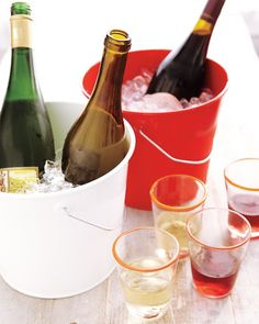 Color-coded party drink buckets take the guesswork out of finding the right wine or other party drink