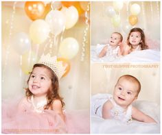 Little Princesses with yellow, gold and white balloons.  Such a sweet sibling photo.