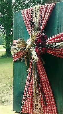Handmade, OOAK Decorative Cross; Rustic/Country/Shabby-Chic, Red Gingham & Teal