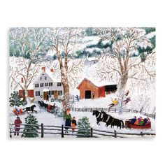Grandma Moses, or Anna Mary Robertson Moses lived and farmed in upstate New York, and began painting when she was in her seventies. Naive, New York Painting, Grandma Moses, Primitive Painting, Winter Art Projects, Winter Illustration, Winter Painting, Winter Magic, Art For Art Sake