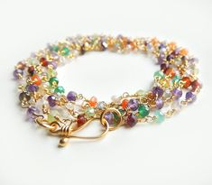 Arista Wrap with Mixed SemiPrecious Stones Long Layering Necklace/Bracelet by Flow Designs Summer Fashion