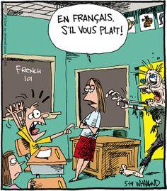 "De: Reality Check by Dave Whamond. Pineado de http://www.gocomics.com/realitycheck/2013/05/14#.U2OksRC4W59 vía el muro en Facebook de Marcela Gianni. ""En français, s'il vous plaît!"" / ""En English, please!"" / ""¡En español, por favor!"" / ""Em Português, por favor!"" /  ""In italiano, per favore!"""