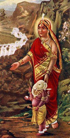 Parvati and Ganesha