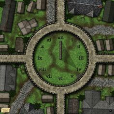 Mapvember Day The Clockyard (Also, Happy Thanksgiving! Adventure Map, Dungeon Maps, Fantasy Map, Sundial, Tabletop Rpg, Happy Thanksgiving, Fantasy Characters, Cool Things To Make, Spin