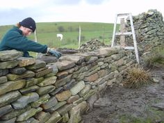 Dry stone wall around 40 acres with stile and gated entry.-Dry stone wall around 40 acres with stile and gated entry. Dry stone wall around 40 acres with stile and gated entry. Dry Stack Stone, Stacked Stone Walls, Dry Stone, Brick And Stone, Stone Work, Stone Retaining Wall, Stone Fence, Building A Stone Wall, Stone Masonry