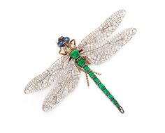 Emerald and diamond dragonfly brooch, ca. 1890 from A La Vieille Russie, Inc.