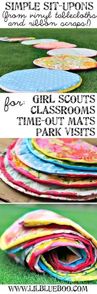 How to Make Simple Sit-upons using vinyl tablecloths.  You SIT UPON them so your bottom doesnt get dirty or wet from the bare ground....why could there be Pinterest when I was a Brownie leader!