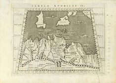 """""""Tabula Aphricae II"""" Copper etching by Girolamo Porro (ca. 1520-1604) after Claudius Ptolemy Published in """"Geographiae Universae"""" by Giovanni Antonio Nagini Venice, 1597 to 1610 Shows the Mediterranean coast line of Tunesia and Libya in this typical Ptolemean style of early exploration of Geography. Also shown: Sicily, Antique Maps, Antique Prints, Historical Maps, Sardinia, North Africa, Sicily, Daffodils, Malta, Hand Coloring"""