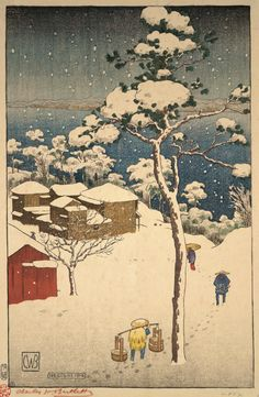 Winter, Negishi 1916. Charles W. Bartlett. Color wood engraving