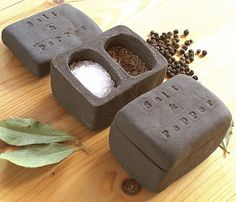 Little Brick House Clayworks: New. Black clay Salt & Pepper Pot