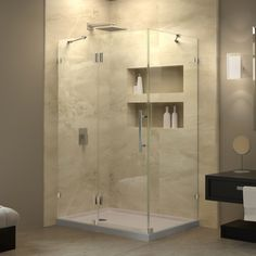 DreamLine QuatraLux 34 5/16 X34 5/16 Frameless Hinged Shower Enclosure By  DreamLine