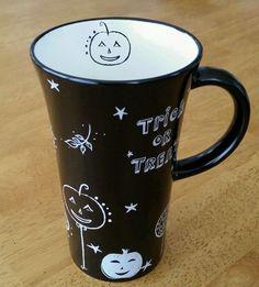 Starbucks 2007 Halloween Trick or Treat  Pumpkin Black w White  Mug Cup 14 oz #Starbucks