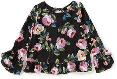 GB Girls Big Girls 7-16 Floral Tie-Back Top