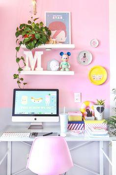Meu home office de cara nova!  |   Decorando um home office rosa em apartamento pequeno.    www.blogdomath.com.br  Insta @mathdoblog
