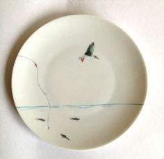 assiette à dessert en porcelaine motif marin : Vaisselle, verres par decozen