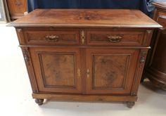 """Antique French Walnut Cabinet w / Wood Pull Out Serving Tray W 46 1/2"""" x H 38"""" #LouisPhillipe"""