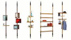 Amazing Shelf Storage Tension Pole Unit Mid Century