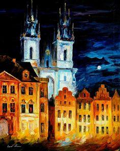 Blue Castle — PALETTE KNIFE Oil Painting On Canvas By Leonid Afremov