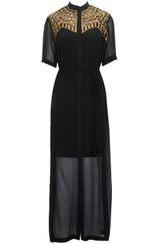 Black cutwork embroidered dress by Urvashi Joneja available only at Pernia's Pop-Up Shop.