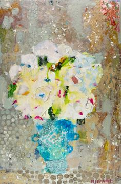 Hydrangea on Brown 36x24 mixed media Atelier Gallery 843-722-5668