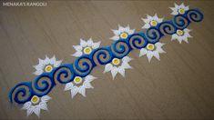 Rangoli Side Designs, Simple Rangoli Border Designs, Easy Rangoli Designs Diwali, Rangoli Designs Latest, Rangoli Borders, Rangoli Patterns, Free Hand Rangoli Design, Small Rangoli Design, Rangoli Ideas