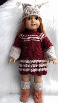 American Girl Hand knitted Dress Owl Hat and Leg Warmers