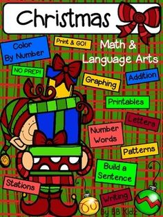 This is a fun unit that has everything you need for theMonth of December - both Math and Language!MathPatterns  Make Christmas patterns using Christmas objects.Addition Color by Number  Add and then color the picture with the number code.Number Word Match  Match the number words to the numbers.Number Word Printable Cards  Match number words to the numbers.Number Order  Write the missing numbers in order.Color By Number  Color the numbers by using the color codes.Graphing  Color, count and…