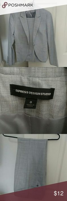 Heather grey Express suit 0 Express Editor Design Studio pants and jacket in Heather Grey. Pants are size 0 short, barely boot low rise and jacket is size 0. This suit is SO cute on, fitted and will make you feel like a CEO! This item is gently used but still has a lot of life to give. Express description of pant: Low Rise Barely Boot Editor Pant,Style #?9198174, With the flawless fit of this Editor pant, you get a sleek, nearly straight line from hip to ankle. Hidden hook & button closure…