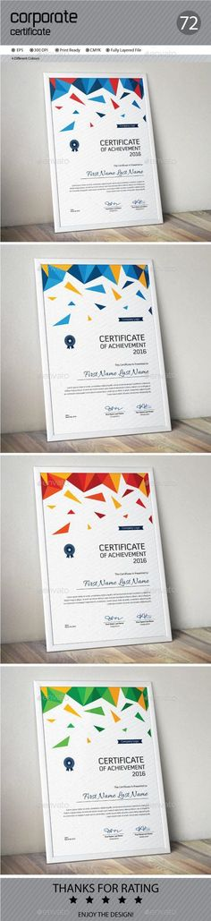 Buy Certificate by ConceptFactory on GraphicRiver. Certificate is especially for Corporate or Professional use. 4 different color and easy to modify. Just select the gl. Stencil Templates, Letter Templates, Print Templates, Card Templates, Certificate Of Appreciation, Certificate Of Achievement, Award Certificates, Stationery Printing, Stationery Templates