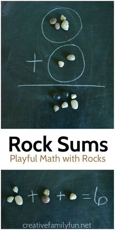 Illustrate math problems with rocks - a simple way to help kids who are learning addition.: