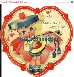 Super Winter Blowout Vintage 1950's  Valentine by TheIDconnection