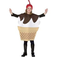 Child's Ice Cream Sundae Costume - Made of screen printed fabric mounted over foam - Cherry hat - Size: Medium 7-10 - SKU: CA-009363