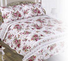 Amazon.com: Chiara Rose Double Sided Reversible Microfiber Bedspread 3-Piece (2xSham 1xQuilt) Quilt Set King, Fuchsia: Home & Kitchen