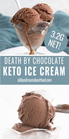 Keto Death By Chocolate Ice Cream For SERIOUS chocolate lovers only. Don't even look this way if you aren't serious about your chocolate. This is the richest, creamiest, most chocolatey low carb ice cream you will ever eat Death By Chocolate, Low Carb Chocolate, Chocolate Lovers, Chocolate Food, Sugar Free Chocolate Ice Cream Recipe, Chocolate Recipes, White Chocolate, Low Carb Desserts, Healthy Desserts