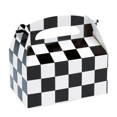 Black and White Checkered Meal Munch Boxes    A great way to serve kids food and make meal time fun. Features black & white checks all over - great for your Racing Themed party table! Use as loot boxes and fill with treats and party goodies.