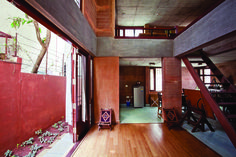 Rammed Earth walls - Colour palette - Exposed concrete - Wood -Indian Interiors by Chitra Viswanath