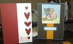 Stampin' Up! cards from my weekly card class. Lovin' the red glimmer paper. www.torisstampinsite.stampinup.net
