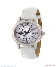 Стилен дамски часовник с овална форма и бяла кожена каишка от Philip