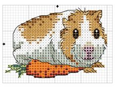 Smiling guinea pig with carrot X-stitch pattern (1 of 2)