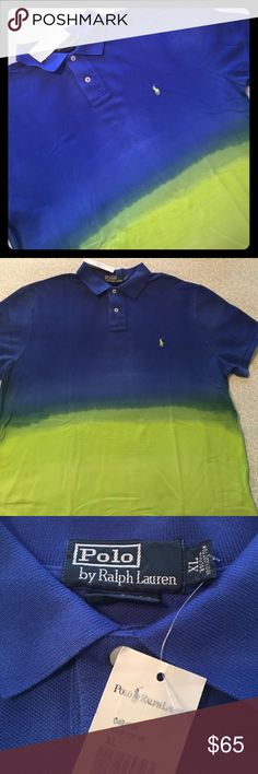 NWT Ralph Lauren Hampton WE Ombré Polo Sz XL Brand NEW this was a rare polo. Ombré fade blue to green. Please feel free to ask questions... Ralph Lauren Shirts Polos