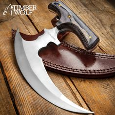 Timber Wolf Reaper Urban Ulu With Sheath Cool Knives, Knives And Swords, Ulu Knife, Armas Ninja, Best Trail Running Shoes, Self Defense Weapons, Timber Wolf, Knife Making, Leather Belts