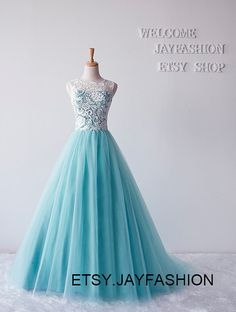2015 New fashion prom dress White Lace High neck Mint Green wedding Gown Long evening formal dress homecoming party dresses prom dresses on Etsy, $95.00