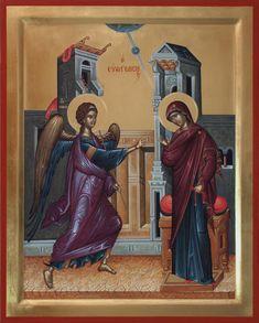 Ευαγγελισμός της Θεοτόκου / Annunciation of the Theotokos Byzantine Icons, Byzantine Art, Religious Icons, Religious Art, Noli Me Tangere, Blessed Virgin Mary, Orthodox Icons, Fresco, Christianity