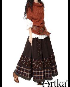 Бохо-распродажа : Длинная юбка-колокол с вставками по низу в стиле бохо